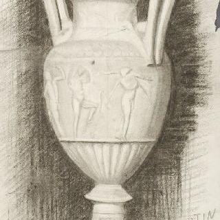 세 명의 무희들로 장식된 고대풍의 항아리