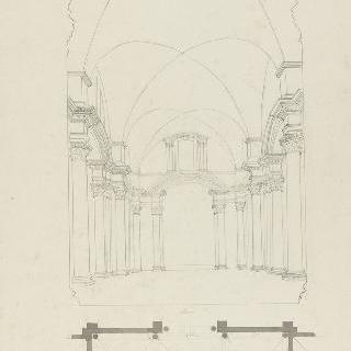 로마 성마리 데 장주 성당, 내부 전경과 중앙 홀 도면