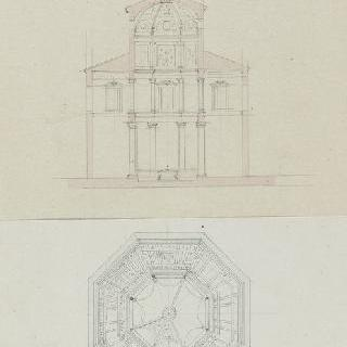 로마 성장뒤라트란 세례당, 도면, 절단면과 천장화