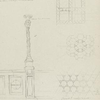 로마 성클레망 성당, 주교좌와 포석을 깐 바닥 부근의 큰 촛대