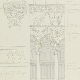 몬레알레 성당, 중앙 홀의 기둥 사이의 거리, 기둥머리와 프리즈 세부 묘사