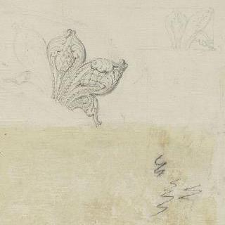 조각된 장식 소재. 석류를 덮은 아칸더스 잎