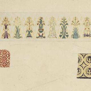 채색된 장식 소재 : 종려나무 잎, 당초문 장식, 꽃과 기하학적 소재