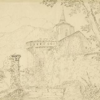 풍경 속의 성당, 복사된 데생
