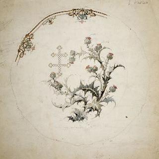 로렌의 십자가와 엉겅퀴 문양이 있는 장식 도자기 접시 모델