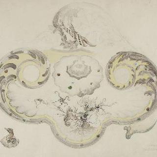 수초와 바다 동물들이 장식된 로코코 형태의 도자기로 된 잉크스탠드 모델