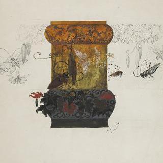 메뚜기, 나비, 하늘소, 능소화 장식이 있는 도자기로 된 화병 모델