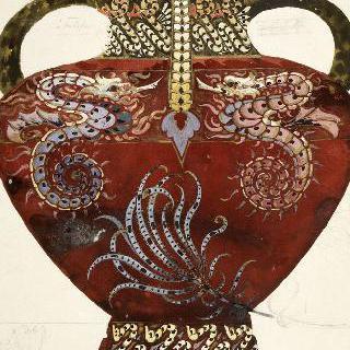동물과 수초 장식이 있는 도자기로 된 화병 모델 : 맞서고 있는 해마와 갯나리류