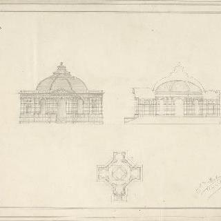 십자형의 작은 건축물, 도면, 횡단면, 중앙 정면 입면도