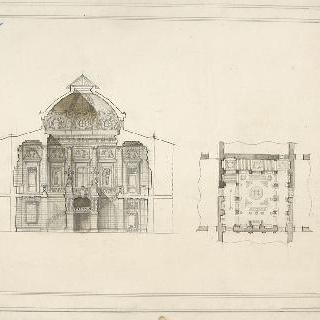 1등급 콩쿠르, 초벌화 : 현관의 계단이 있는 홀, 도면, 입면도