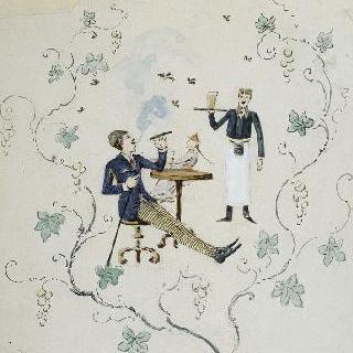 유리 식기 제품을 위한 장식 모델 : 포도나무 가지 둘레 장식 안에 나타난 카페 장면