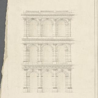3단계로 포개진 아케이드의 세 개의 기둥과 기둥 사이의 거리