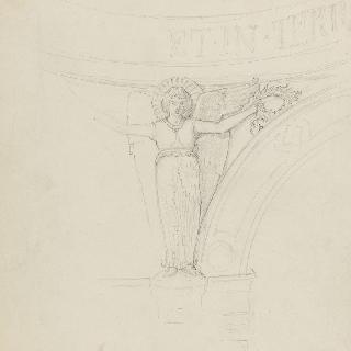 둥근 지붕의 삼각 홍예를 장식하는 월계관을 들고 있는 천사