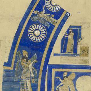 루브르 박물관, 앗시리아관 : 칠보 세공을 한 장식 홍예창틀 세부 묘사