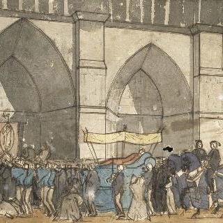 성당 정면 앞의 장례 행렬