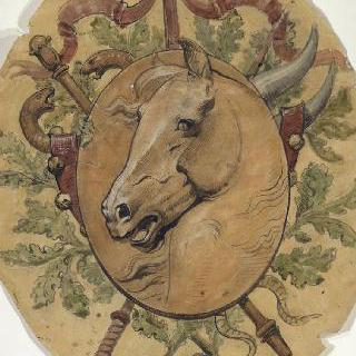 사부아 지방의 엑스레뱅 카지노 : 모자이크 형태의 장식 계획안 : 말의 머리