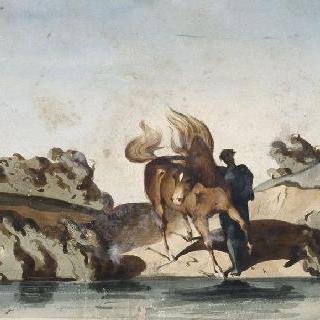 강가의 말을 잡고 있는 고대풍의 옷을 입은 인물