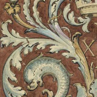 당초문, 화관과 돌고래 장식