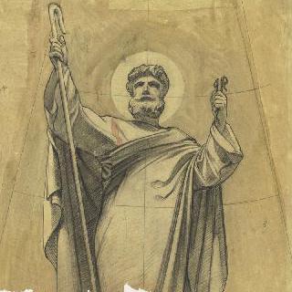 파리 성프랑수아자비에 성당 : 가로 회랑의 둥근 지붕 : 성 베드로의 준비 습작