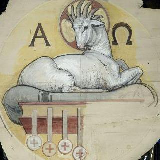 파리 성프랑수아자비에 성당 : 가로 회랑의 둥근 지붕 : 알파와 오메가 사이의 어린 양