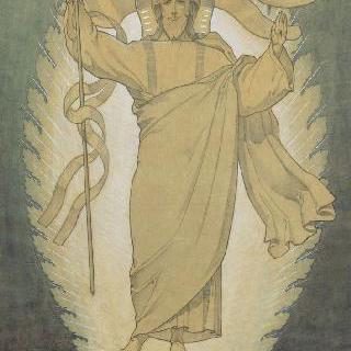 마들렌 성당 : 합창대의 모자이크 형태의 프리즈로 된 준비 밑그림 : 그리스도