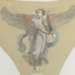 파리 성 쉴피스 성당 : 둥근 지붕의 삼각홍예 습작 : 대천사 가브리엘