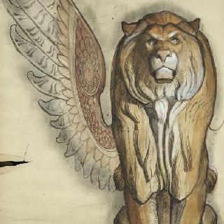 파리 판테온 : 성쥬느비에브 예배당 : 고블랭 직물 양탄자 : 앉아 있는 사자