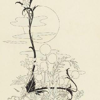 상부의 태양, 구름과 꽃들의 식물 장식된 문자 L