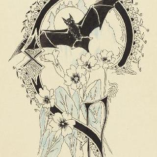박쥐와 꽃들이 있는 장식된 문자 G