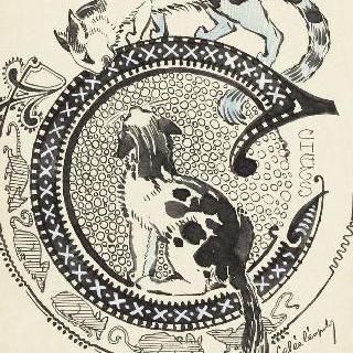 채색된 문자 C : 두 말의 고양이과 작은 생쥐들 모습