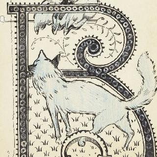채색된 문자 R, 암탉을 바라보는 덫에 걸린 여우의 모습
