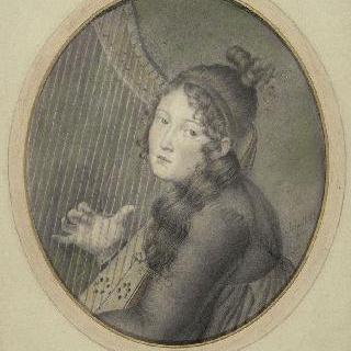 하프를 연주하는 오르탕스 드 보하르네 왕비로 추정되는 흉상 초상