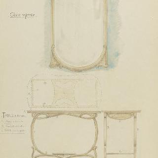 가구 모형 : 큰 거울과 글쓰는 탁자
