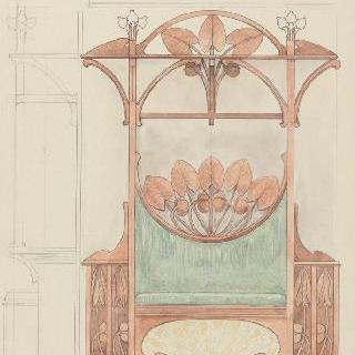 벽판이 있는 긴 의자 모형