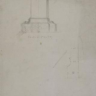 르쾨르 무덤, 절단면과 입면도, 세부 사항 초벌화 : 파리 몽파르나스 공동묘지