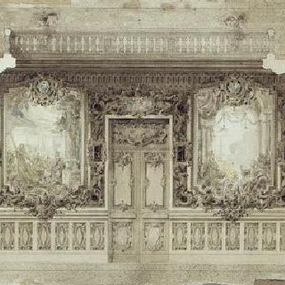 카이로 자말렉의 J.J. 허그의 자택 : 1층 그랜드 홀의 장식 : 입면도
