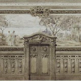카이로 자말렉의 J.J. 허그의 자택 : 2층 그랜드 홀의 장식 : 입면도