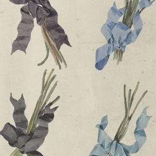 꽃다발을 묶는 직물 리본 장식 습작 4점