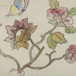 나비와 꽃이 만발한 화관 습작