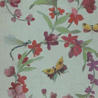 나비와 잠자리가 있는 꽃이 만발한 화관 습작
