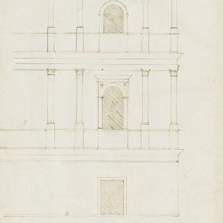 이중 토대 위의 3층 왕궁의 모퉁이