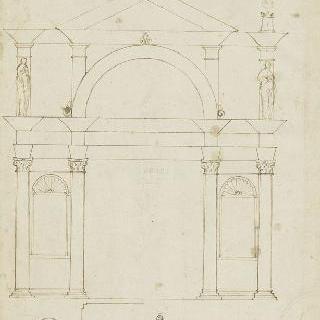 커다란 성문의 왕궁 아케이드 초벌화