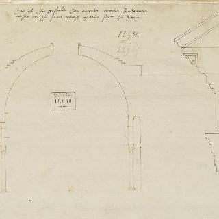 로마 판테온의 수직 단면도와 수평부의 옆모습