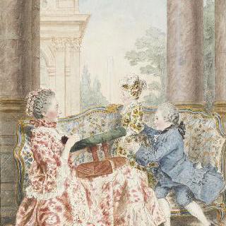징세 청부인의 아내인 아름다운 카즈 부인과 그녀의 아이들