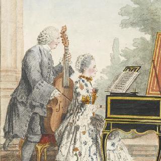 피아노를 연주하는 피투엥 양과 콘트라베이스로 반주를 맞추는 아버지