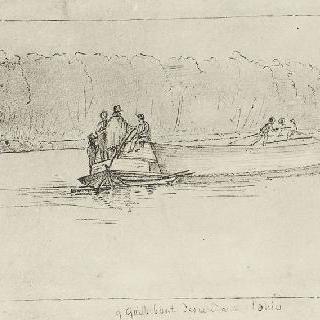 오하이오 강을 내려오는 용골 보트