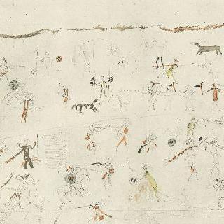 미국의 풍경 앨범 : 인디언이 들소 가죽 위에 장식한 그림