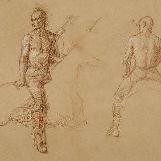 인디언 복장의 말 탄 인물의 습작 2점 : 우측 4분의 3상과 뒷모습