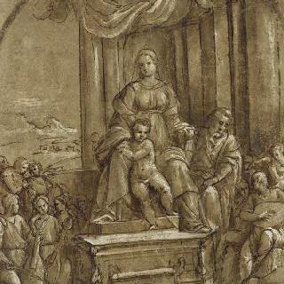 성 요셉과 음악 천사들 사이의 왕좌에 앉은 성모와 아기