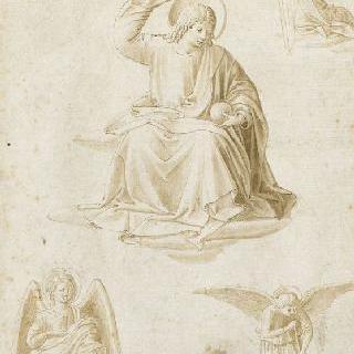 살바토르 문디의 그리스도, 세 천사들과 한 손 습작